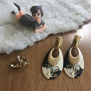 💎 Lot of 2 Pairs Clip-On Earrings Gold Tone
